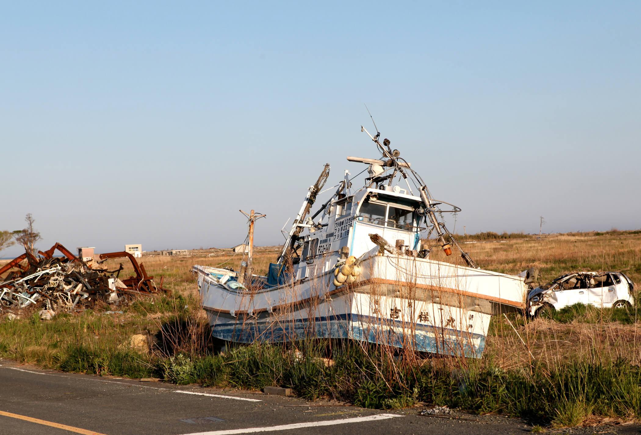 aftermath of tsunami in 3/11 Tohoku Japan